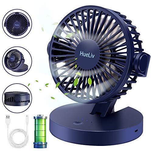 HueLiv Ventilator, opvouwbare USB-ventilator, met accu, miniventilator met sterke luchtstroom en stille werking, 3 snelheden, 360 graden draaibaar, voor thuiskantoor en slaapkamer