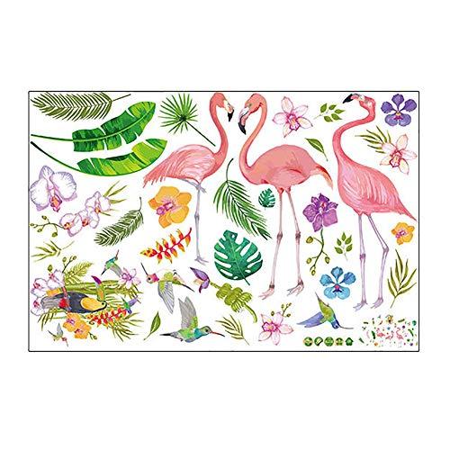 Hacoly Esszimmer Wanddeko Wandsticker Glasfenster Flamingo Blätter Wandtattoo Babyzimmer Selbstklebend Aufkleber für Sofa und Fernsehen im Wohnzimmer Deko Wandpapier