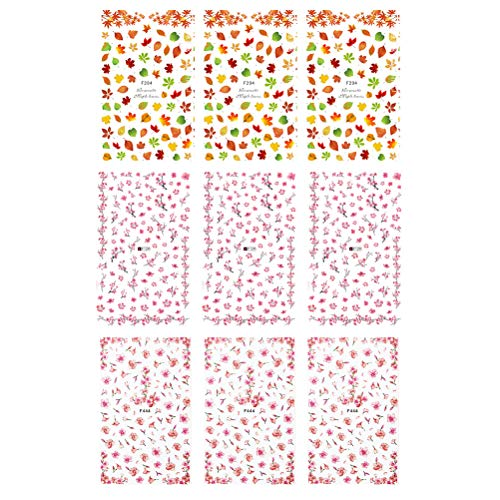 Lurrose Nagel Maniküre Aufkleber Pfirsich Blumenmuster Nail Art Tip Aufkleber Dekoration 9tlg
