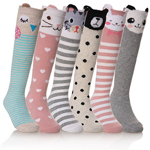 FNOVCO Girls Knee High Socks Cartoon Animal Patterns Cotton Over Calf Socks (6 Pairs Animal)