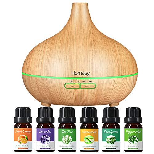 Homasy 500ml Aroma Diffuser mit 6 * 10ml Ätherische Öle Set, 23dB Ultra Leise Aromatherapie diffuser Luftbefeuchter mit 14-Farben-LED, Schlafmodus, Perfekt zu Diffuser öl set - Gelb