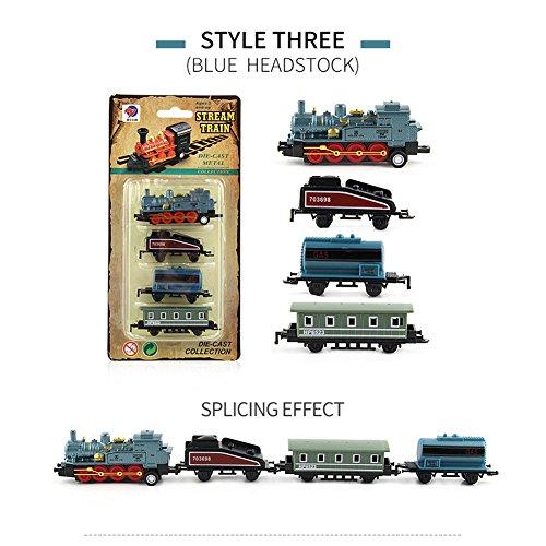 ACHICOO Modellbahn Spielzeug, 4pcs Kinderlegierung Simulation Dampfzug Kreative Mini-Auto Modelle Spielzeug Geschenke für Kinder blau Kinder, Freunde