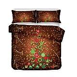 Svvsovs 3D lecho de Imprimir Duvet Cover Set 135 x 200 cm bedcloth con la Funda de Almohada Juego de Cama Textiles for el hogar Individual Doble Rey Queen Size Arbol de Navidad de Dibujos Animados -