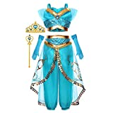 Princess Jasmine Costume Dress Up Clothes Fancy Sequined Arabian Outfit Attire with Tiara Wand Gloves Accessories Set for Little Toddler Girls Kids Halloween Cosplay Birthday Party 3T 4T 3-4 Years