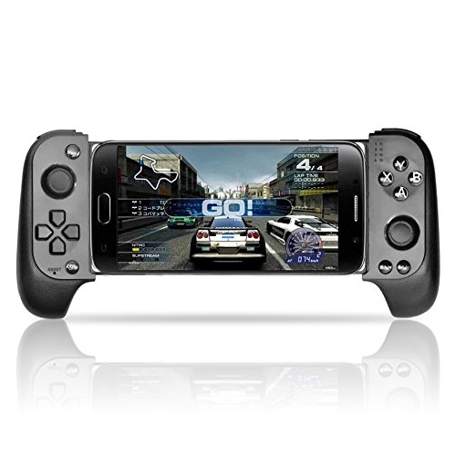 PinPle Mobile Game Controller, Telescopic Wireless Bluetooth Controller Gamepad for Android Phone, with Flexible Joystick (Black)