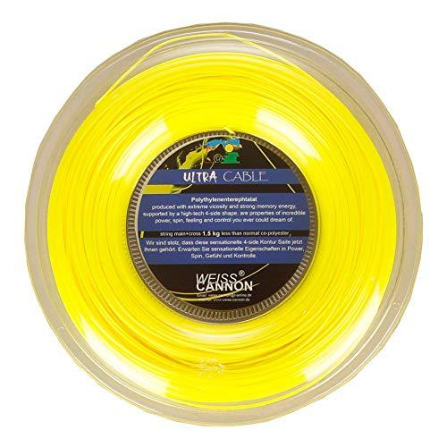 Weiss Cannon Unisex– Erwachsene Ultra Cable Saitenrolle 200m-Gelb Tennis-Saite, gelb