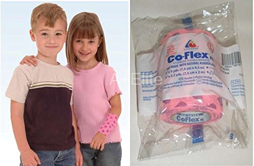 Andover CO-Flex NL 3'x5Yds Neon Pink/Purple Hearts 3-Pack Cohesive Flexible Elastic Latex Free Bandage Compression Self Adherent Wrap for Kids Children Animals Pets Cats Dogs Horses 5300HT