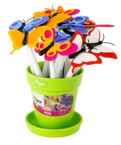 VIGAR Flower Shop Butterfly - Set de 12 Bolígrafos con Tinta Color Negra