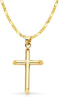 14K Yellow Gold Classic Cross Pendant with 2.3mm Figaro 3+1 Chain Chain Necklace
