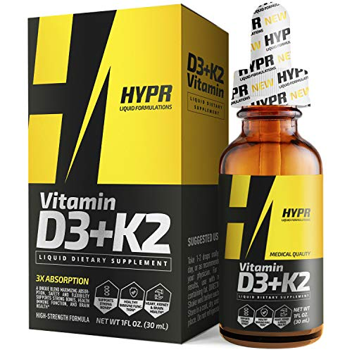 HYPR D3K2 Vitamin D3 + K2 (MK-7) Liquid Drops with MCT Oil, Helps Support Strong Bones and Cardiovascular System Support 1Fl Oz
