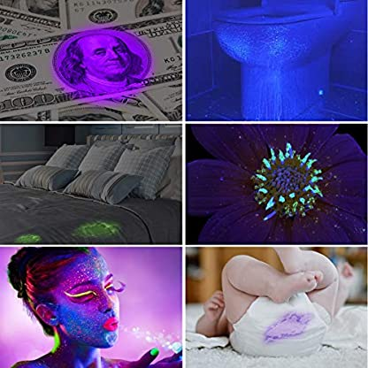 YOUTHINK UV Torch, 128 LED UV Flashlight with UV Protection Glasses, 395nm Upgraded 128 LED Flashlight Black Light Ultraviolet Lamp, Dog Cat Urine Detector, for Carpet/Floor 6