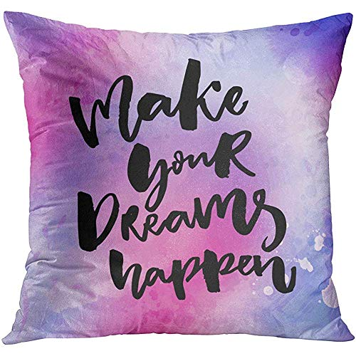 MJDIY kussenhoezen, maak je dromen Happen inspirerend over doelen leven borstel letters op roze en violet gooien kussenslopen voor trein vliegtuig slapen