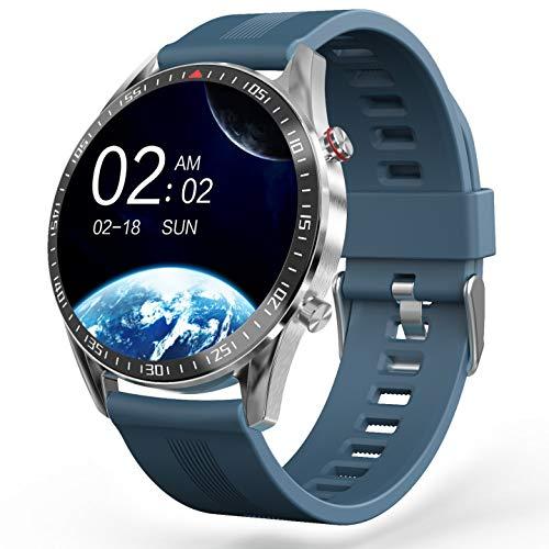 YoYoFit Smartwatch,1.3 Zoll Voller Touchscreen Sportuhren mit Pulsmesser Blutdruck,Wasserdicht Fitness Armbanduhr Sportuhr,SMS-Erinnerung, Schlafmonitor 23 Sportmodi für iOS Android (Blau)