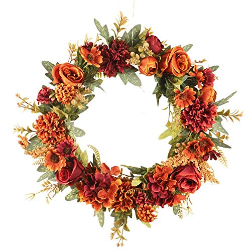 ampusanal Artificial Wreath, Autumn Rose Wreath, Durable Beautiful Rose Fall Wreath Decoration Garland, for Home Wedding Holiday Thanksgiving Decoration, 40cm