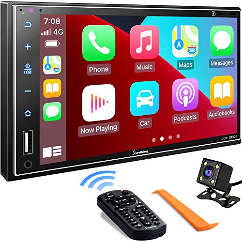 Double Din Car Stereo Compatible with Apple Carplay, 7 Inch Full HD Capacitive Touchscreen - Bluetooth, Mirror Link, Backup Camera, Steering Wheel, Subwoofer, USB/SD Port, A/V Input, FM/AM Car Radio