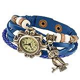 Taffstyle Damen-Armbanduhr Analog Quarz mit Leder-Armband Geflochten Charms Anhänger Uhr Retro Vintage Eule Gold Blau