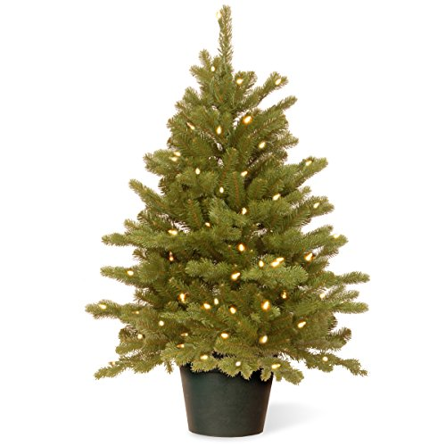 National Tree 3 Foot Feel Real Hampton Spruce Wrapped Tree with 100 Clear Lights in Growers Pot (PEHA3-306-30)