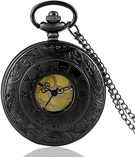 SGSG Reloj de Bolsillo Vintage Charm Negro Unisex Moda Número Romano Cuarzo Steampunk Reloj de Bolsillo Mujer Hombre Collar Colgante con