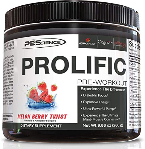 PEScience Prolific Pre Workout, Melon Berry Twist, 40 Scoops, Energy Supplement with Nitric Oxide