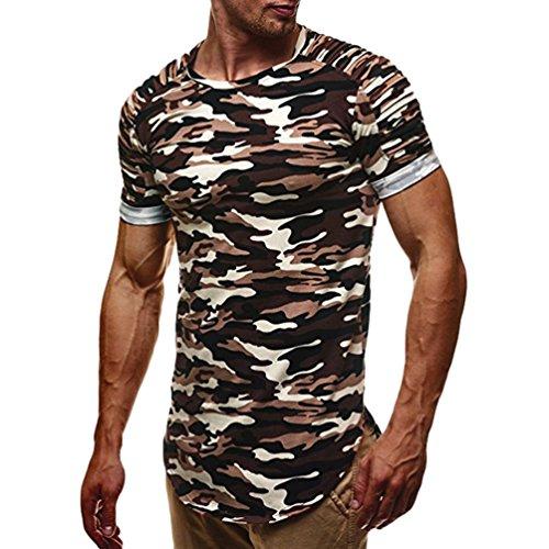 Dexinx Männer Tarnung Starke Rundhals Kurzarm Lauf T-Shirt Sommer Stilvolle Durable Military Gymnastik Tops Camo Kaffee XL