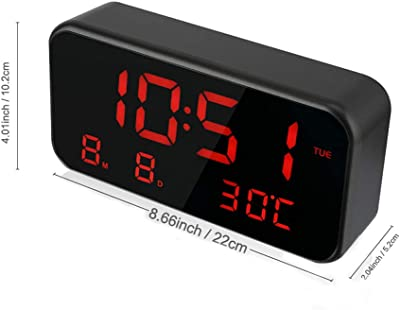 Tcare ® Despertador de música Digital con Pantalla Grande LED - Multifuncional con indicador de Fecha