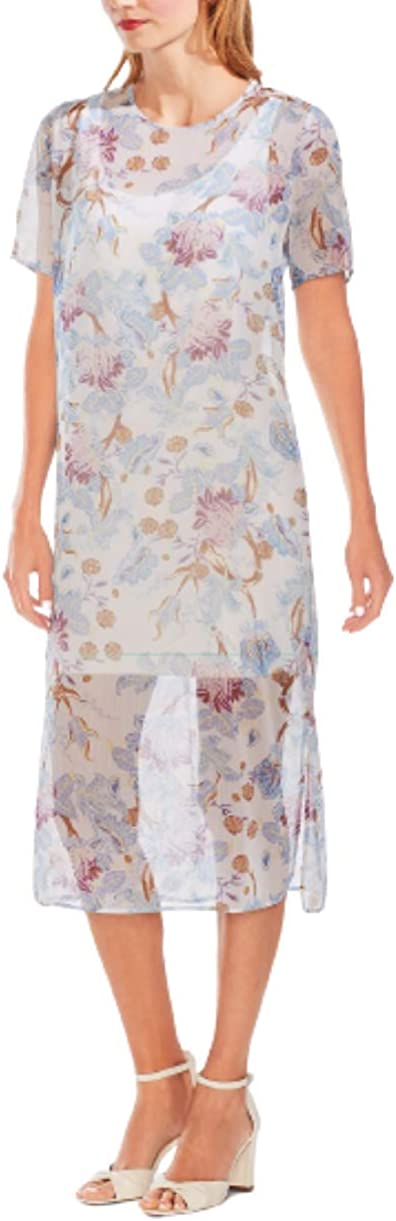 Vince Camuto Floral-Print Cocktail Dress Soft Bluebell XXS