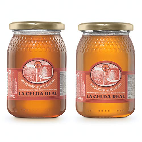 La Celda Real - 1 kg Miel Natural - Pack 2 sabores: Miel Acacia + Miel Polyflora/Multifloral - 100{0a4a463c46ebee18f6e3158ecb16978a59b7e2728899a5311a25ddae56afdd80} Natural - Tarro de cristal - Origen España