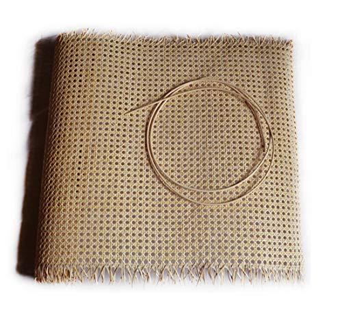 Birdikus Kit Rejilla de Mimbre para reparación de sillas, mecedoras o butacas, con canutillo o junquillo para su Montaje (50x50 cm + 2 m canutillo)