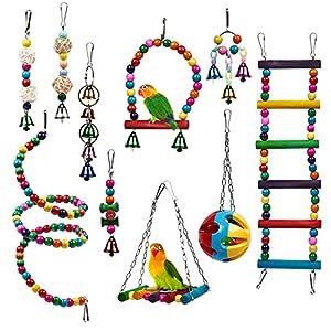 THE TWIDDLERS 10 Piece Parrot & Bird Cage Enrichment Toys - Durable & Chewable