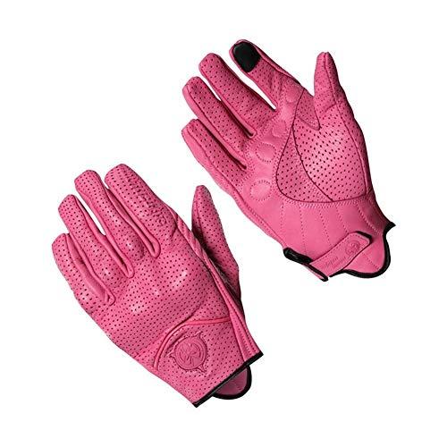 BTZHY Motorradhandschuh aus Leder Damen Herren Motocross Racing Handschuhe Sommer-Sport-Rosa-Schwarz-XS-XXL (Color : Pink Hole, Size : S)