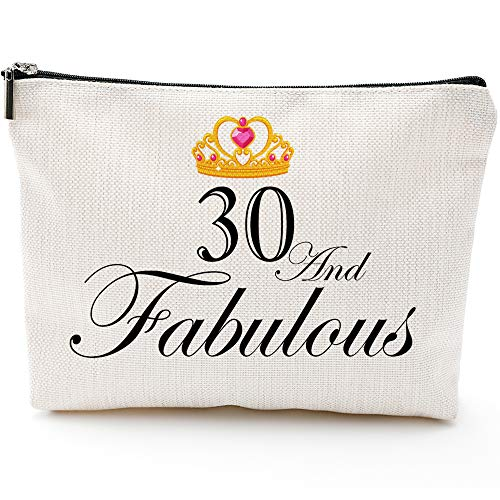 Fun 30th Birthday Gifts for Women-30 and Fabulous-Makeup Travel Case, Makeup Bag Gifts