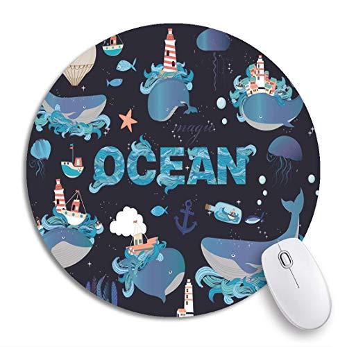 Runder Mauspad Blauer Anker Bunte Meerestiere Wale und Quallen Aquarium Rutschfeste Gummibasis Mausmatte Gaming Mousepad für Computer