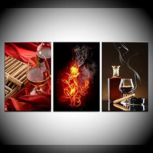 RHBNVR canvas schilderij abstracte vlam roos canvas kunst 5 stuks champagne glas verlicht sigaren muurkunst poster woonkamer decoratie