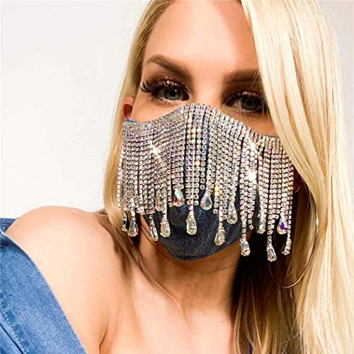 Urieo Sparkly Rhinestones Mesh Masks Black Bling Crystal Face Masks Shine Masquerade Mask Halloween Ball Party Nightclub Rave Festival for Women and Men