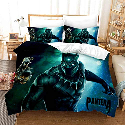 XFMF Avengers Black Panther Juego de ropa de cama infantil, microfibra supersuave, impresión digital 3D, juego de ropa de cama con cremallera (07,135 x 200 cm)
