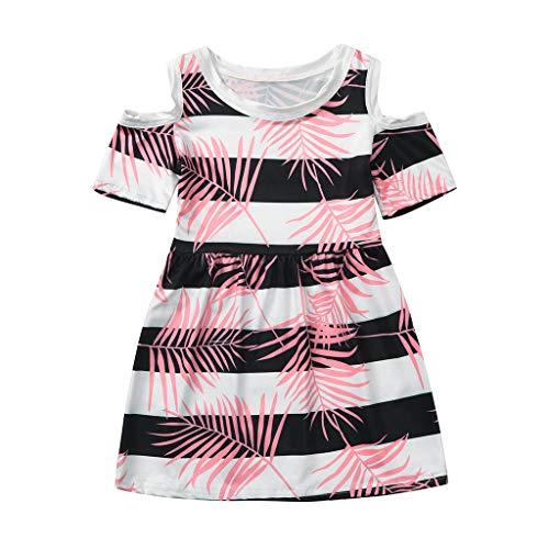Julhold Kleinkind Kinder Baby Mädchen Süß Freizeit Prinzessin Coral Tropical Stripe Floral Kleid Outfits Sommer 1-5 Jahre