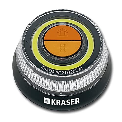 KRASER KR400V16 Luz Homologada DGT LED Intensidad, Baliza Luminosa de Emergencia Imantada, Autónoma, Compacta y Ligera + Linterna con Colgador, Naranja