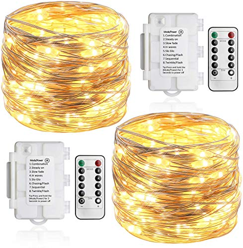 [2 Pack] Koopower Fairy Lights Battery Operated, 36ft 100 LED Outdoor String Lights, 8 Modes Silver Copper Twinkle Lights for Bedroom, Garden, Yard, Christmas(IP65 Waterproof, Remote and Timer)