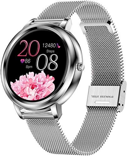 SHIJIAN Reloj inteligente de pantalla completa con modo táctil, soporta múltiples modos deportivos, mensajes personalizados, llamadas, recordatorios sedentarios, gama alta/oro/cuero-plata