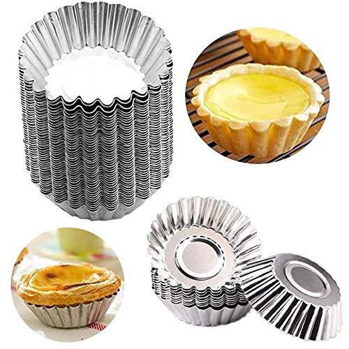 50 Pcs Acier Inoxydable Moule à Muffin,Moules à Tartelette,Moules de Cuisson Moules Antiadhésif et Réutilisable pour Cupcake Crème Glacée ou de Chocolat Congelés
