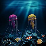 Holoras Glowing Jellyfish Decoration, 6 Pack Silicone Artificial Jellyfish for Aquarium Fish Tank Decoration (2 Pack, Purple + Yellow)