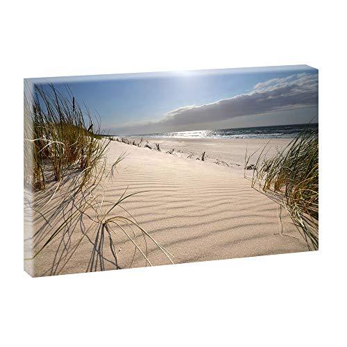 Bild auf Leinwand mit Nordsee-Motiv Stranddünen auf der Insel - 120x80 cm Wandbild im XXL-Format, Leinwandbild mit Kunstdruck ungerahmt, Landschaftsbild fertig auf Holzrahmen gespannt, Made in Germany