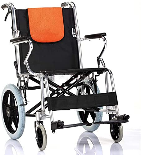 Folding Wheelchair Lightweight Wide Seat With Handbrakes, Aluminum Alloy Frame, Portable Transport Wheelchairs For Adults A