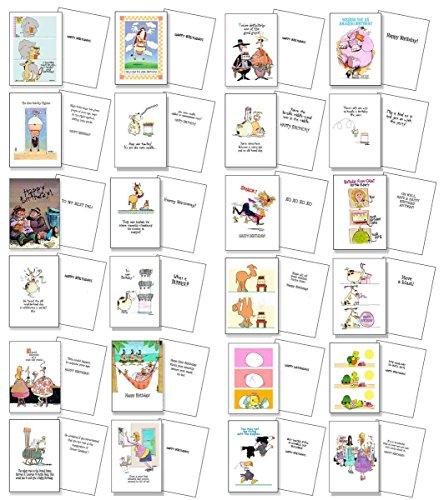 24 Funny Birthday Card Assortment - Bulk Set Birthday Cards - Boxed Set of 24 Cards & Envelopes (Assortment #2)