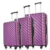Wonderlife - Maleta de equipaje ligera con 4 ruedas ABS rígido maletas Morado morado 3 Set