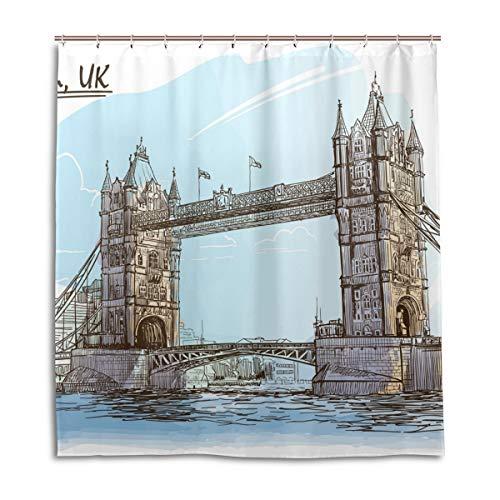 CPYang Duschvorhänge UK London Bridge Wasserdicht Schimmelresistent Bad Vorhang Badezimmer Home Decor 168 x 182 cm mit 12 Haken
