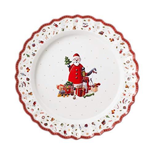 Villeroy & Boch 14-8585-2905 - Toy's Delight bandeja de servicio, plato de servicio redondo de porcelana Premium, apta para microondas, multicolor/rojo/blanco, 45 cm