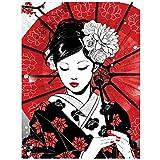 Kit De Pintura De Diamante 5D Con Taladro Completo - Mujeres Japonesas Boda 5D Diy Diamante Pintura - Bordado Kimono Chica Punto De Cruz Cuadrado Completo Taladro Redondo Artesanía Para El Hogar Deco