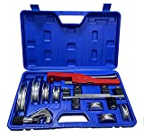 VOTOER Plumbing Copper Aluminum Tube Pipe Bender Bending Kit Refrigeration Ratcheting Tubing Benders Hand Bending Tool, 1/4 to 7/8 Inch with Carry Case, Durable Alumium Alloy Material Bender