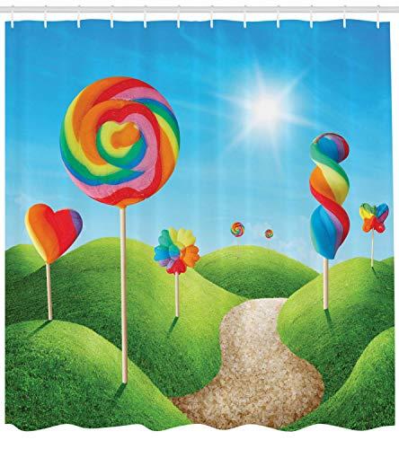 taquxinlaowan Fantasy Duschvorhang Candy Land Lollipops Print für Badezimmer